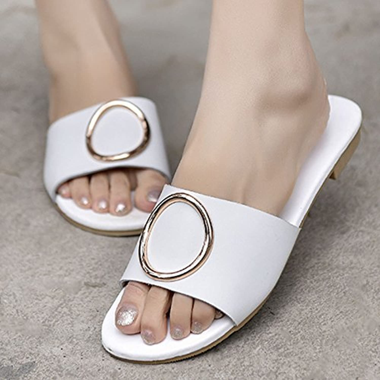 OME&QIUMEI Cubierta Antideslizante De Baño Zapatos Para Damas En Verano 35 Blanco  -