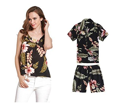 c367635a1 Camiseta y camisa sin mangas a juego de madre hijo Hawaiian Luau en  Rafelsia negro Mujer L Chico 14