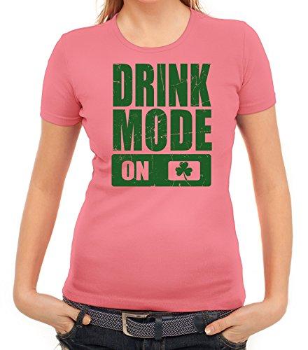 Day Partner Gruppen Damen T-Shirt Drink Mode on, Größe: XL,Rosa (Rosa Damen Kostüme Irland)