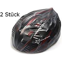 Lot de 2Casque Housse en noir pour casque de vélo–Protection contre la pluie, Vent, le soleil | Logo réfléchissant pour la sécurité | étanche imperméable Casque de protection cordon de serrage (2pièces Noir)