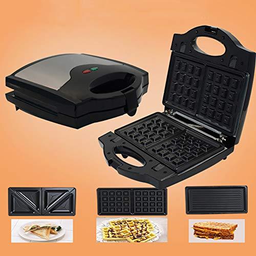 0Miaxudh Elektrischer Sandwichmaker, BBQ-Toaster, Multifunktions-Küchen-Frühstückswaffelbrot-Maschine 750W