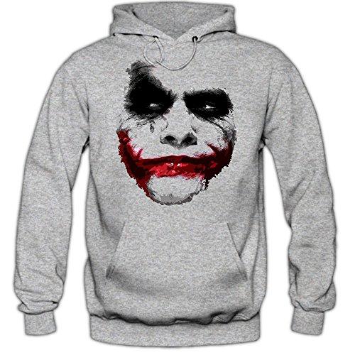 Joker Hoodie Herren Shadow Hoodie Heath Ledger Batman, Farbe:graumeliert (grey melange);Größe:S
