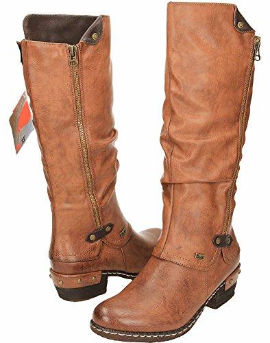 Rieker 93655 Damen Langschaft Stiefel Tan