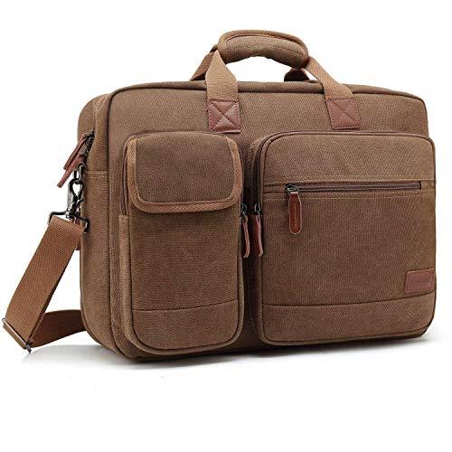 CoolBell 17,3 Zoll Laptop Aktentasche schützend Messenger Bag Herren Umhängetasche Nylon Business Laptoptasche Briefcase Schultertasche Multifunktional Henkeltasche, Canvas Coffee