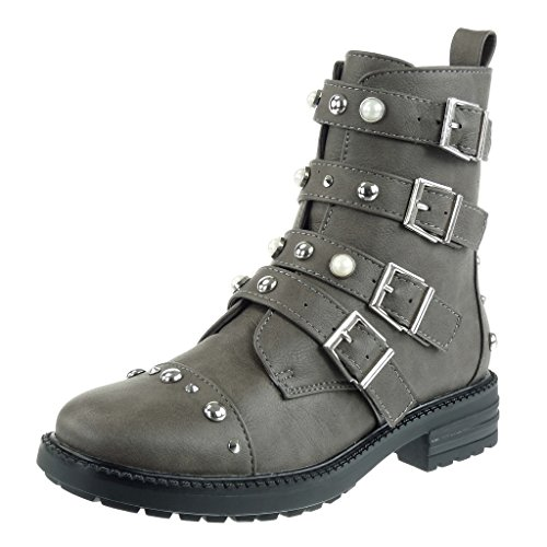Angkorly - Damen Schuhe Stiefeletten - Combat Boots - Biker - Reitstiefel - Kavalier - Nieten - besetzt - Perle - Multi-Zaum Blockabsatz high Heel 3.5 cm - Grau W06-8 T 39