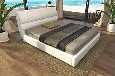 Cama de Cuero Marco Lounge Blanca 140x200 160x200 180x200 200x200 cm Cama Tapizada, Material A++ Calidad Apariencia Cuero Incl. Somier No. MB-045-16-01-TF