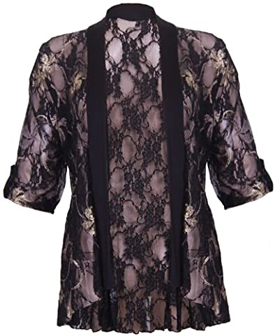Womens Turn Up Short Sleeve Ladies Metallic Foil Floral Print Lace Waterfall Front Open Cardigan Top Plus Size Gold And Black Size 22 -