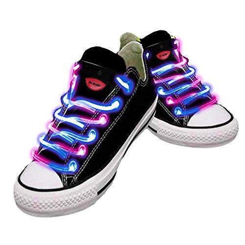 Wasserdichte LED-Schnürsenkel in verschiedenen Farben: grün, rot, gelb, orange, blau, pink, gelb/grün, blau/pink, grün/pink, mehrfarbig, hochwertig rosa / blau (Schnürsenkel Bis Led-licht)
