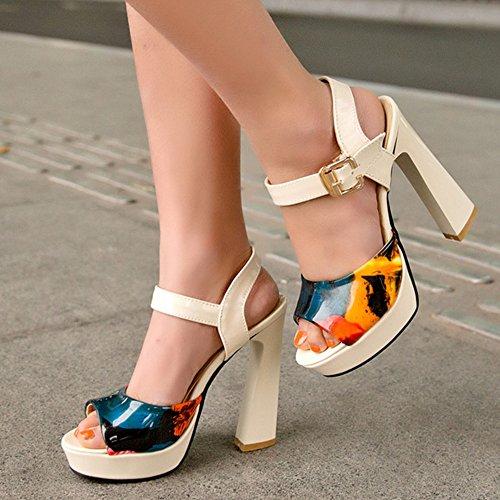COOLCEPT Femmes Mode Bloc Talon hauts Sandales Floral Slingback Cheville Chaussures Beige