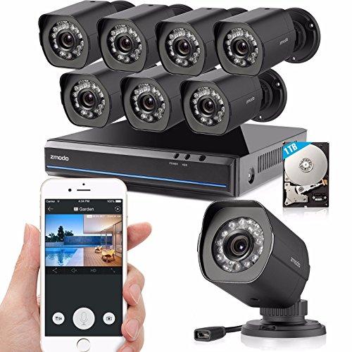 Zmodo 8 Kanal 1080p HDMI NVR Überwachungssystem mit 8 echten 720p HD sPoE Überwachungskameras, indoor/outdoor, IP65 wetterfest, Bewegungsmelder, 1TB HDD
