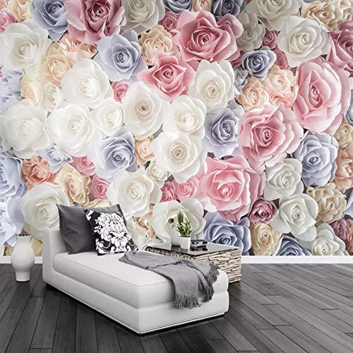 Benutzerdefinierte Größe Handgemalte 3D Floral Garden Roses Fototapete Wand Wohnzimmer Sofa Tv Hintergrund Wandverkleidung Tapete 3D (W)350x(H)250cm -