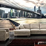 Fototapete Stadt - ALLE STADTMOTIVE auf einen Blick ! Vlies PREMIUM PLUS - 300x210 cm - NEW YORK BROOKLYN BRIDGE SKYLINE - New York USA Skyline Sephia Brooklyn Bridge NYC - no. 043