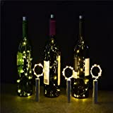 Toamen 15 LED DIY Bright White Bottle Light Kit Fairy Lights Battery Top Wedding Decoration