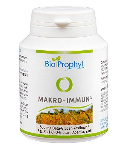 BioProphyl® Makro-Immun - 500 mg natürliches Yestimun® Beta Glucan mit natürlichem Vitamin C und Zink - qualitativ hochwertig - zur Unterstützung des Immunsystems und den Abwehrkräften - 60 pflanzliche Kapseln -