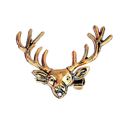 lapel pin Antique Gold Reindeer Head Horn Stag Lapel Stick Pin Brooch...