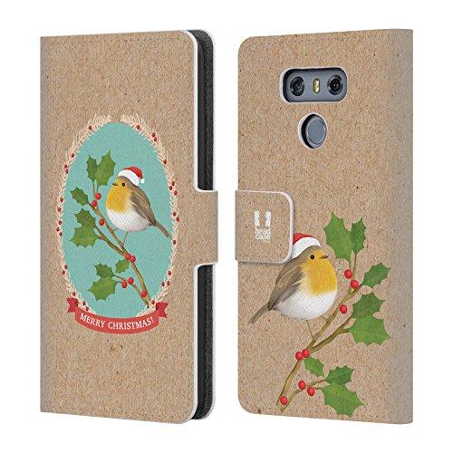 Head Case Designs Rotkelchen Weihnachtszeit Brieftasche Handyhülle aus Leder für LG G6 / G6 Dual