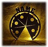 Schlummerlicht24 Pizza Deko Lampe mit Name Zubehör für die Pizzeria Geschenke Set für Pizzabäcker Bäcker Köche Küche Dekoration Wohnzimmer Restaurant