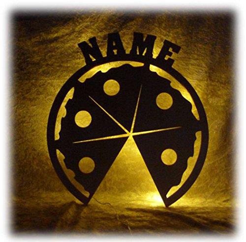 Schlummerlicht24 Pizza Deko Lampe mit Name Zubehör für die Pizzeria Geschenke Set für Pizzabäcker Bäcker Köche Küche Dekoration Wohnzimmer Restaurant (Pizza-bäcker)