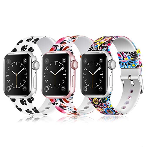 JLELE para Apple Watch 38mm 42mm 40mm 44mm Correa, Soft Silicona Estilo Deportivo Reemplazo Wristband Pulseras para iWatch Series 4 3 2 1 (38mm/40mm, Z-3 Pack C)