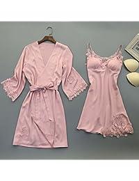 OME&QIUMEI Pijamas Ropa De Verano Falda Guillotina Camisón De Seda Acolchada Femenino Vestido De Verano 170
