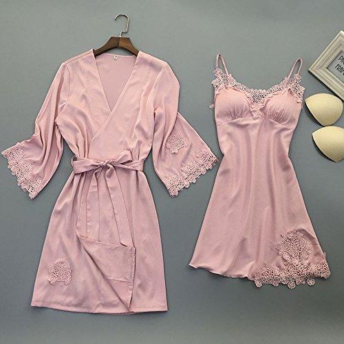 OME&QIUMEI Schlafanzug Sommer Kleid Schärpe Rock Gepolsterte Seide Nachthemd Weiblichen Sommer Kleid 170 (Xl) Rosa (Rock Seide Mitte Länge)