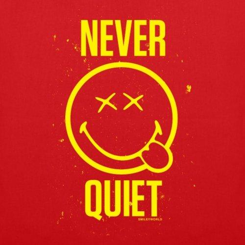 Spreadshirt Smiley World Never Quiet Niemals Still Stoffbeutel Rot