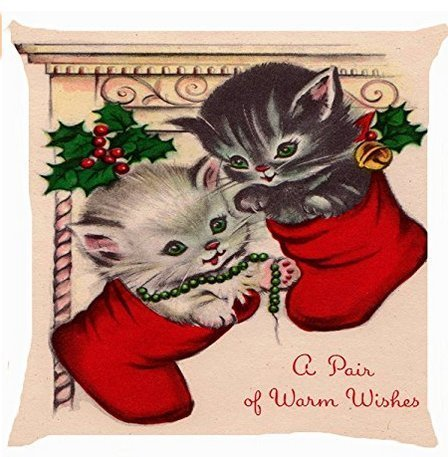 ge Cat Kitten Pair Christmas Sock Stocking Cute Kitty Pet Warm Wishes 18 x 18 inches ()