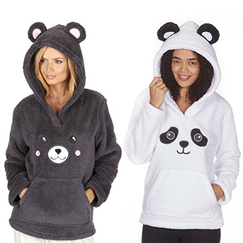 Ladies Novelty Snuggle Fleece Bear Themed Hoodie - 51REJdlPM6L - Ladies Novelty Snuggle Fleece Bear Themed Hoodie