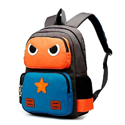 AnKoee Sac à Dos Enfant Sac Cartable Sac Ecole Sac Scolaire Enfant Garçons Filles (Orange/Bleu)