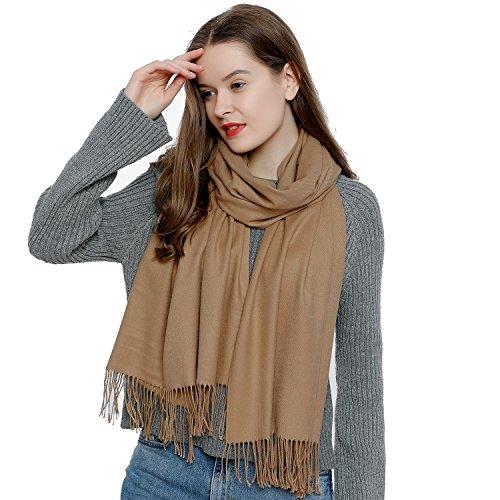 DonDon Damen Schal einfarbig weich 185 x 65 cm khaki sandfarben -