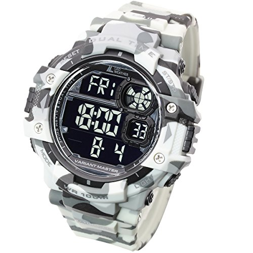 [LAD WEATHER] Stoppuhr/Pacer-Funktion/100m Wasserdicht/Camouflage/Militär/Sport/Uhr (G-shock-watch-weiß-grün)
