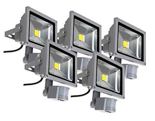 5x Showlite FL-2020B LED Outdoor Fluter (Flutlicht mit Bewegungsmelder, 20W, 2200 Lumen, IP65, 4500K, tageslicht-weiß) (Led-parkplatz-beleuchtung)