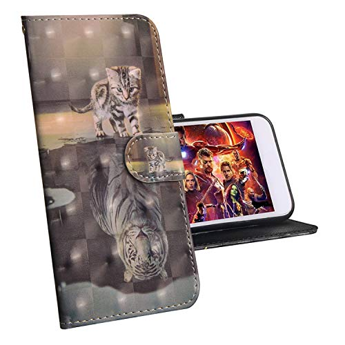 sinogoods Für LG K50 / Q60 Hülle, Premium PU Leder Schutztasche Klappetui Brieftasche Handyhülle, Standfunktion Flip Wallet Case Cover - Katze Tiger