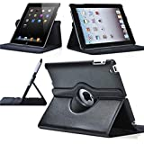 Rich CASE Apple IPad Mini, Ipad Mini 2, Ipad Mini 3, 360-Degree Rotating Hard Folio Case(Black) With Tablet Stand And Camera Hole, Made Of PU Leather, With Extra Strong Back(ipad Mini, 2,3 Only)
