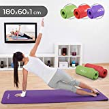 Physionics Tapis de Yoga - 180 x 60 cm, Épaisseur (1 ou 1,5 cm), avec Sangle de Transport, Antidérapant, Couleur au Choix - Tapis de Sol, Gymnastique, Fitness, Exercices (180 x 60 x 1 cm, Violet)