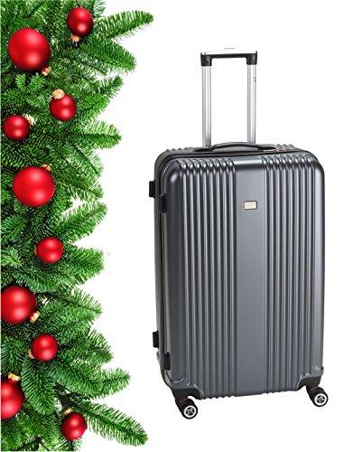 PURE Koffer SENSATION / Reisekoffer / Hartschale / Trolley / robustes PET / 4 Rollen / TSA Zahlenschloss (grau, M)