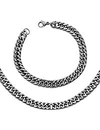 SET Panzerkette + Armband Königskette Silbern Golden Schwarz Ø 4 6 8 10 12mm Edelstahl Herrenschmuck Halskette bis 100cm mit Samtbeutel