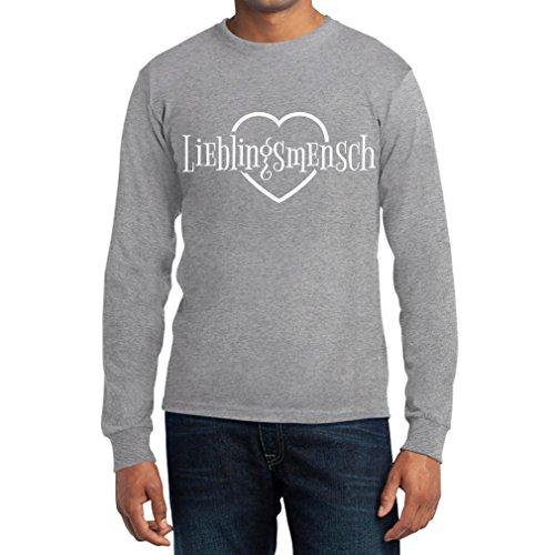Lieblingsmensch Liebe Valentinstag Geschenkidee für Ihn Langarm T-Shirt Grau