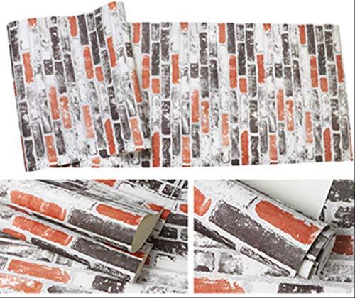 Retro-moderne-tapete (ZCFDBZ Hintergrundbild 3D Nachahmung Backstein Tapete Moderne Retro Restaurant Cafe Bar Pvc Wasserdichte Vintage Tapeten Rolle Für Wände 3 D Wohnkultur 5,3㎡ Bs1006 02)