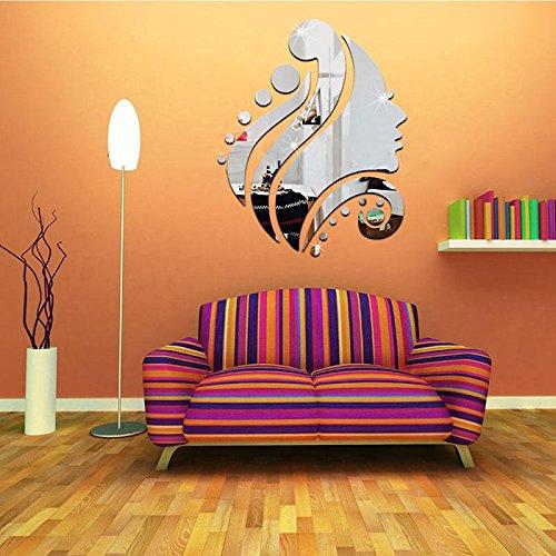 Calistouk RONGXINUK Pegatina decorativa de pared con efecto espejo, vinilo para decoracion...