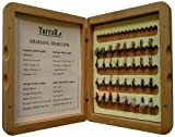 Bamboo Presentation Grayling - Set di 32 mosche secche da pesca, con scatola in legno di bambù inclusa