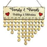 KOBWA Familien Geburtstags Brett, Kalender Zeichen Plakette, liebendes Herz Holzbrett, Faith Family Friends Erinnerung Kalender Geschenk für zu Hause Dekoration