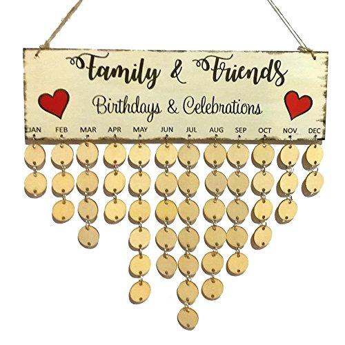 KOBWA Holz Home Decor, Kalender Schild Holz Crafts Wandschild Board für Familie Friends Reminder mit 120Stück DIY Scheiben Zum Aufhängen One by One