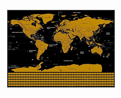 Wisdom mappa nera creativa che graffia la mappa graffia la mappa di programma di apprendimento di turismo della mappa mondiale del fondo del nero, come mostrato, 59,4 * 82,5 centimetri