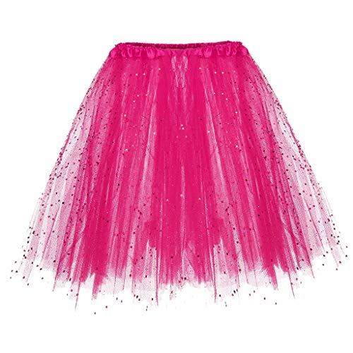 Andouy Damen Tutu Rock Tüll Sparkly Pailletten Balletttanz Organza 50s Jahre Kostüm Mini Dress-up Größe 36-44(36-44,Fuchsie) (Kinder Kostüm Thomas)