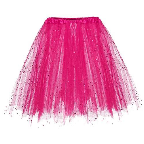 Kostüm Hot Zigeuner - Lazzboy Womens Paillette Elastischer 3-lagiger kurzer Rock Tutu-Rock für Erwachsene(M,Hot Pink)