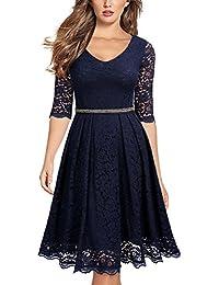 Miusol Damen Perlenstickerei Vintag Party Kleid Elegant Abendkleid Spitzen Cocktailkleid