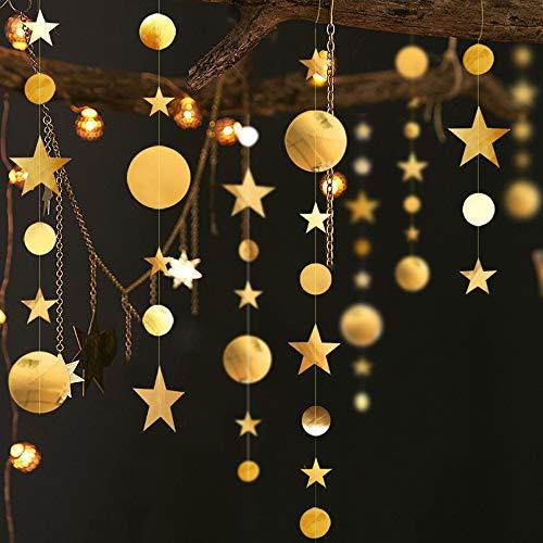 Mila-Amaz Golden Glitter Sterne und Kreise Papiergirlande 4 x 4m Banner Girlande Hängende Wand Dekoration Bunting für Hochzeit Urlaub Party Geburtstag