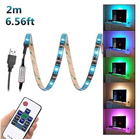 WenTop USB Kit de Ruban à LED (2m) 5V 5050 RGB,LED Bande Flexible Etanche Strip + RF Télécommande, Chambre à coucher, pour Home Led Lighting Barres,Rétro-éclairage TV