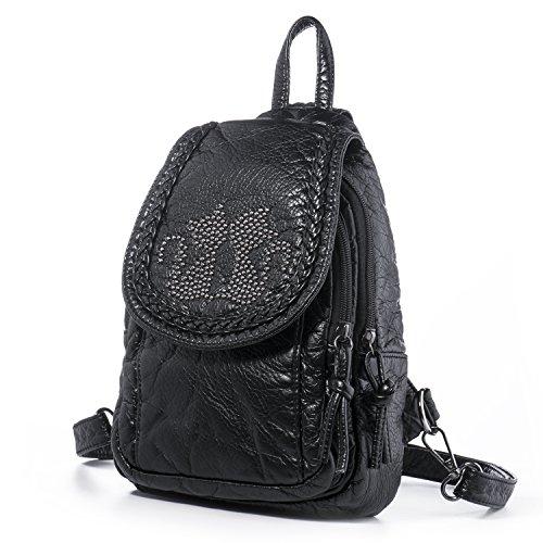 Hengwin PU Leder Kleine Damen Rucksack Handtasche Schulrucksack Daypack Schultertasche Reise Brusttasche mit ÄNDERBAR SCHULTERRIEMEN Für Mädchen Kinder Uni Schule Alltag Outdoor (Rucksack Tasche Handtasche)